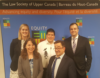 Photo of Panelists: From left back row—Kathleen Pye, EGALE Canada Human Rights Trust; Wendall Nicholas, Wabanaki Council on Disability; Robert  Lattanzio, ARCH, Kerri Joffe, ARCH; Steven Estey, Co-ordinator Canada's Parallel Report on the CRPD