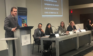 Photo from Left:  Robert Lattanzio, Sunil Gurmukh, Mariam Shanouda, Maureen Haan, Marian MacGregor;  Robert Lattanzio is speaking to the audience.