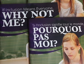 "Image: showing front pages of ""If Inclusion Means Everyone Why Not Me?"" in English and French."