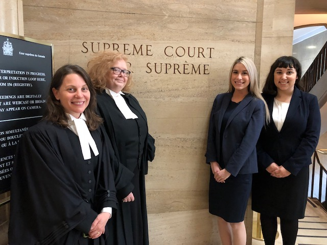 Dianne Wintermute and Kerri Joffe with Disability Law Intensive students Christina Faith Cameletti and Kirsten Cirella at the Supreme Court of Canada, 2017.
