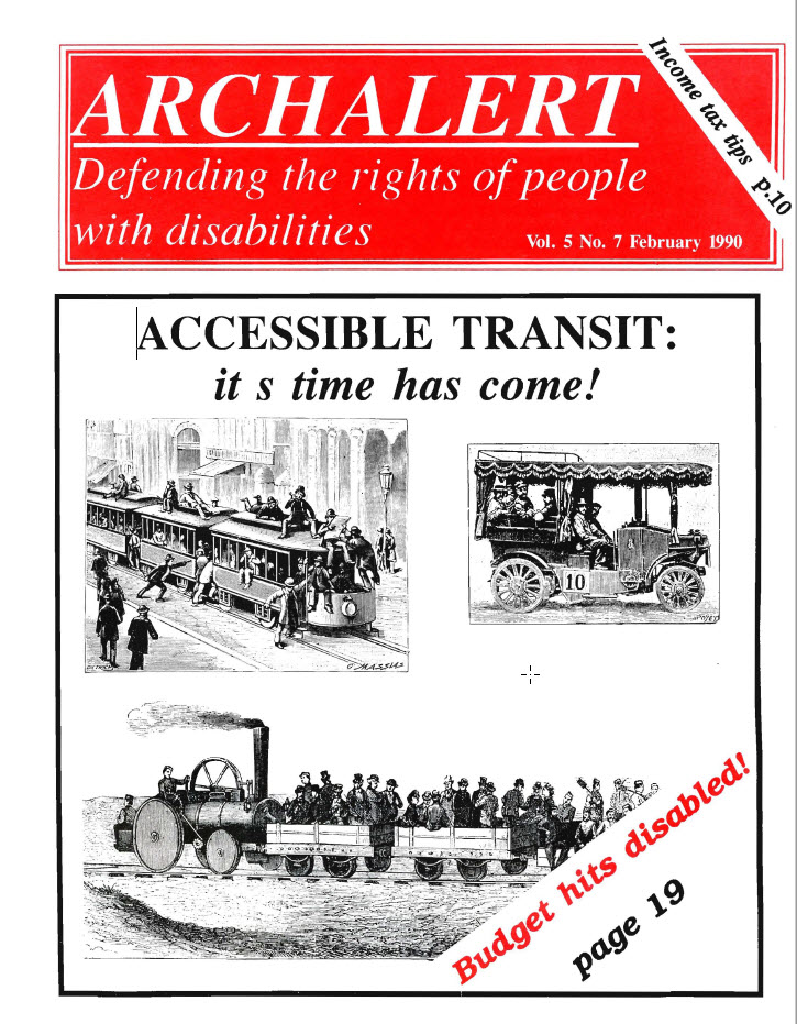 "Cover of ARCH Alert with headline ""Accessible transit: its time has come!"""