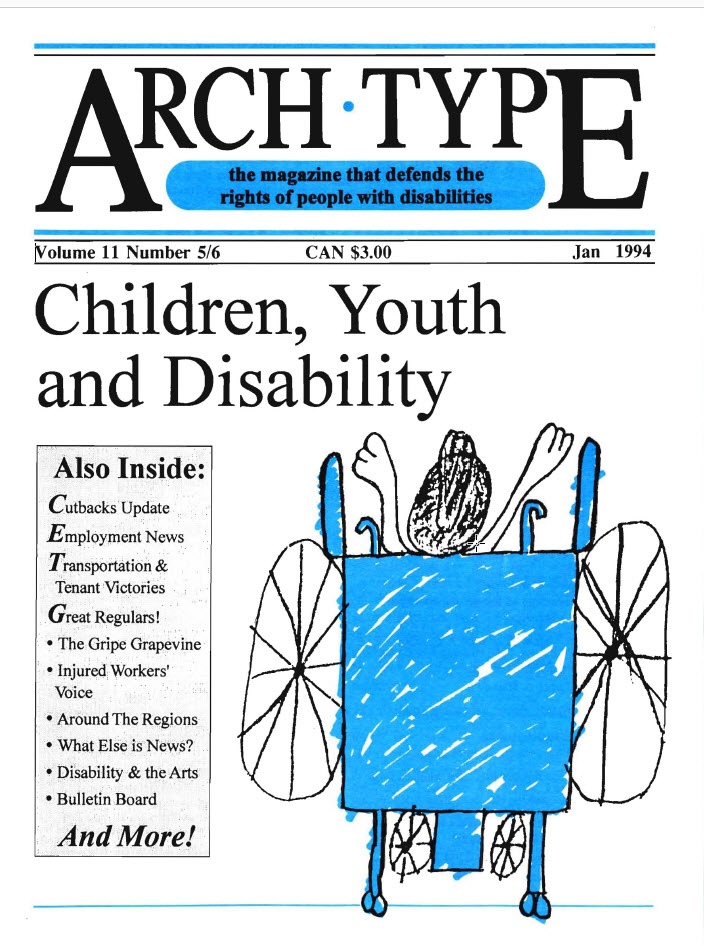 "Cover of Arch Type with headline ""Children, Youth and Disability"""
