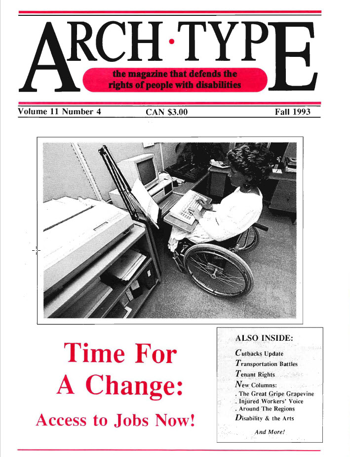 "Cover of Arch Type with headline ""Time for a change: Access to jobs now!"""