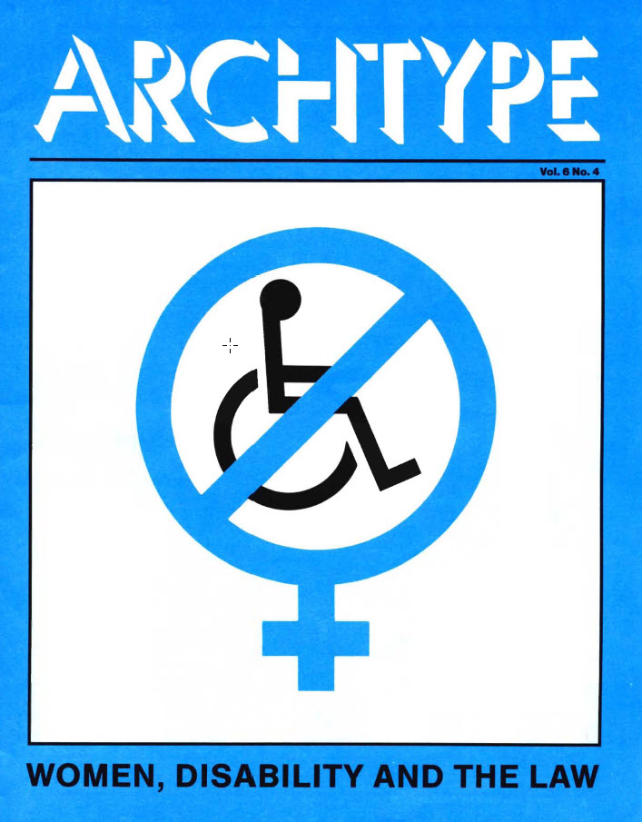 "Cover of Arch Type with headline ""Women, disability and the law"""