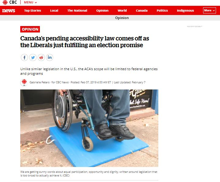 a snippet of CBC news 'Canada's pending accessibility law  comes off as the Liberals just fulfilling an election promise', February 7, 2019.