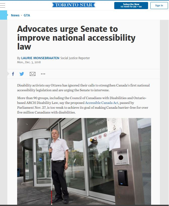 an snippet of Toronto Star news on 'Advocates urge Senate to improve national accessibility law', December 3, 2018.