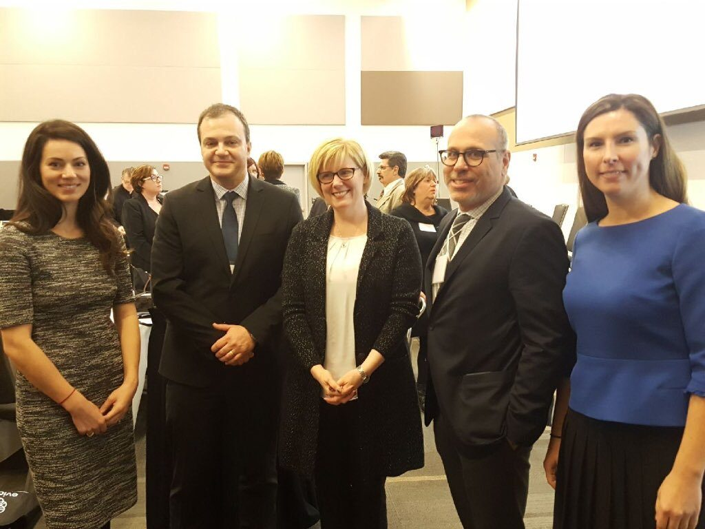 Jessica De Marinis, ARCH Staff Lawyer, Robert Lattanzio, ARCH Executive Director, the Hon. Carla Qualtrough, Minister of Public Services and Procurement and Accessibility, Doug Waxman, ARCH Chair, and Laura Upans, ARCH Board Member.