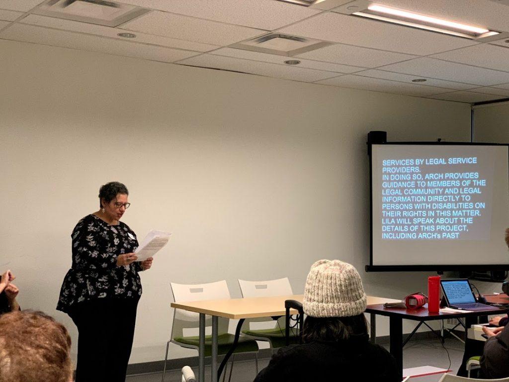Theresa Sciberras, ARCH staff, presenting the agenda at Toronto's IDPD event, 2018.