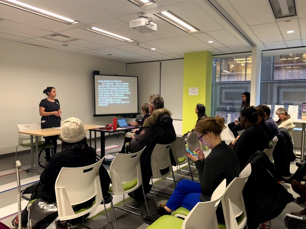 Lila Refaie, ARCH Staff Lawyer, presenting at Toronto's IDPD event, 2018.