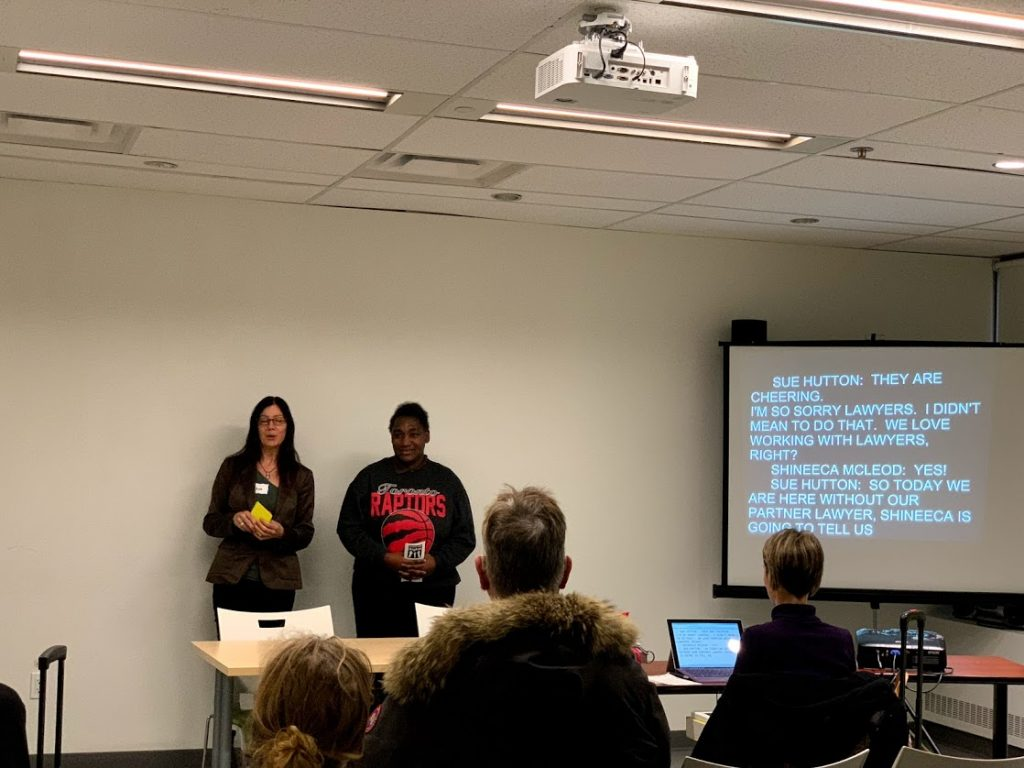 Sue Hutton, ARCH staff, and Shineeca Mcleod, Respecting Rights member, presenting at Toronto's IDPD event, 2018.