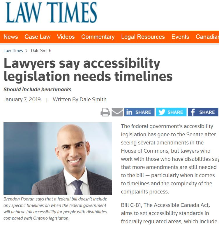 Snippet of Law Times news  'Lawyers say accessibility legislation needs timelines', January 7, 2019