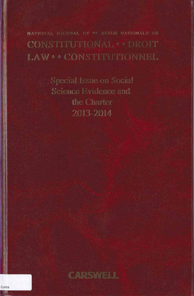 Cover of the National Journal of Constitutional Law - Special Issue on Social Science Evidence and the Charter 2013-2014
