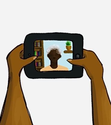 hands holding phone with a video image from another person