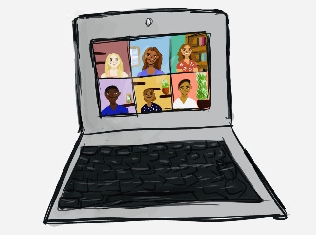 laptop showing 6 people in video conference call