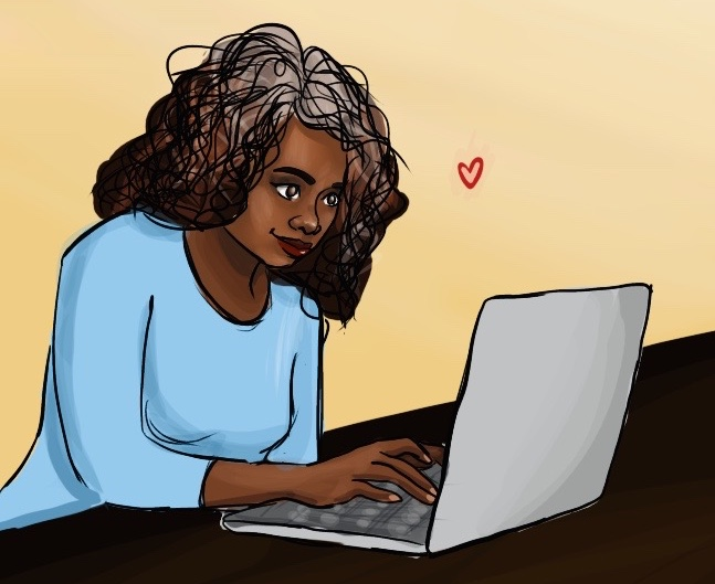 person using computer feeling happy