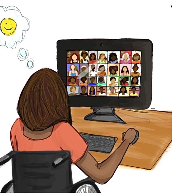 person in online conference with many other people